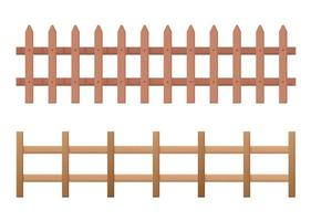 Horizontal wooden fence set vector