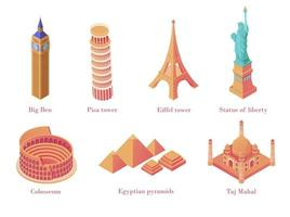 Isometric architectural tourist attraction set