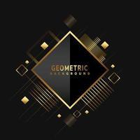 Shiny metallic golden diamond shaped geometric pattern on black vector