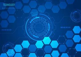 Blue technology hexagons and social network pattern vector
