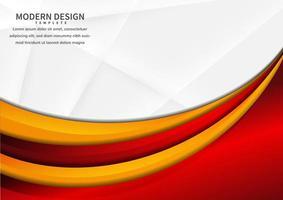 Resumen capas curvas vibrantes rojas y amarillas que se superponen en blanco