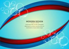 Red and blue vibrant overlapping curved layers with bubbles vector