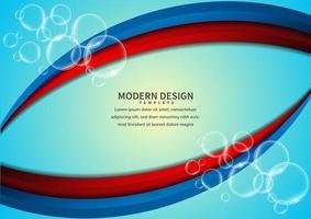 camadas curvas sobrepostas vibrantes vermelhas e azuis com bolhas