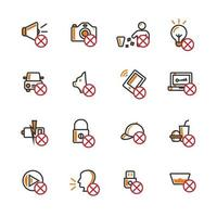 Prohibition semi-filled outline icon set vector