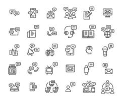 Message outline icon set