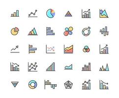 Business Graph Filled Outline Icon Set vector
