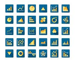 Business Graph Flat Long Shadow Icon Set vector