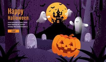 Halloween design with pumpkin, ghost, castle, moon vector