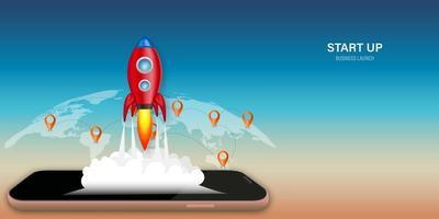 Online application startup design with rocket on mobile vector