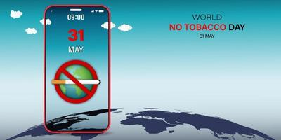 No Tobacco Day alert on smartphone vector