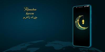 diseño de Ramadán Kareem con media luna dorada en el móvil