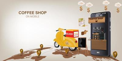 Coffee shop delivery on mobile vector
