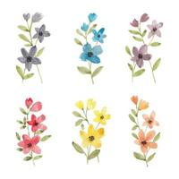 Colorful wildflower watercolor collection vector