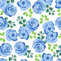 Blue rose flower watercolor pattern