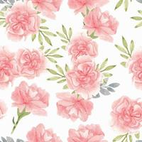 Watercolor pink carnation flower pattern