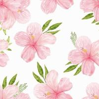 Watercolor pink hibiscus flower pattern vector