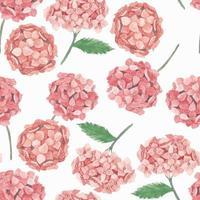 Pink hydrangea flower watercolor pattern vector