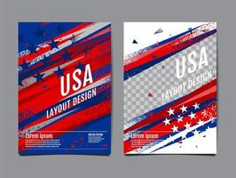 USA red, whtie and blue grunge cover set vector