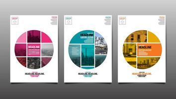 plantillas de portada de ciudad abstracta de círculo segmentado vector