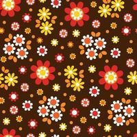 Cute mod flower blossom seamless pattern on brown vector