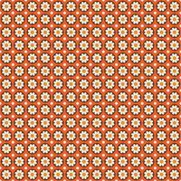 Mod style seamless pattern with flowers in circles on orange vector