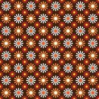 Orange and brown mod flower blossom pattern