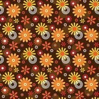 Ornamental mod style flower and circle seamless pattern