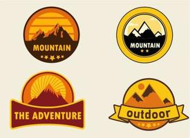 Desert mountain badge set vector