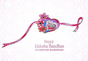 Beautiful heart shaped Raksha Bandhan Indian festival card design vector