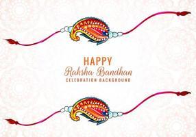 Decorated rakhi for Indian festival Raksha Bandhan card design vector