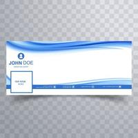 Abstract business blue and white wave banner  vector