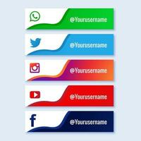 Social media lower third collection set  vector
