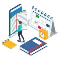 Student reading on mobile phone vector