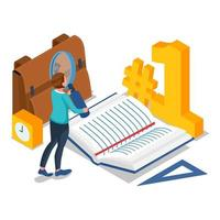 Student searching article in book for school vector