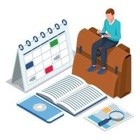 Student sitting on bag and reading a book vector