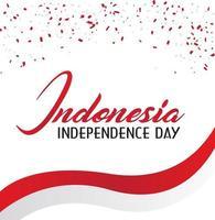 carte de fête de l'indépendance indonésie avec des confettis rouges et blancs