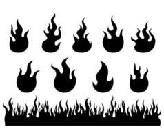 conjunto de silueta de llamas de fuego vector