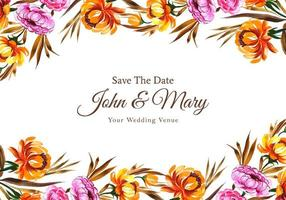 Floral save the date wedding card template