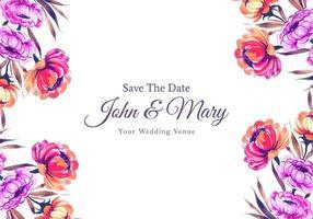 Lovely flowers frame wedding card template  vector