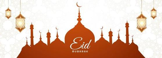 Elegant banner with mosque silhouette for eid mubarak card  vector