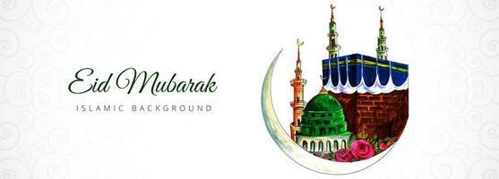 Beautiful eid mubarak islamic banner with moon and mosque  vector
