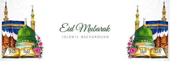 Islamic eid mubarak banner with mosque  vector