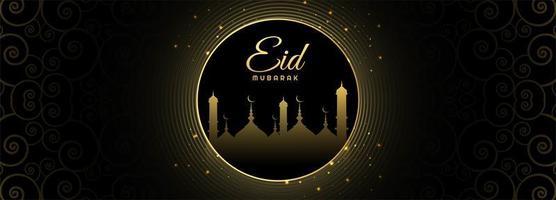 Eid mubarak moon card banner vector