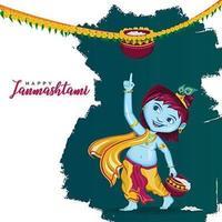 Krishna Janmashtami Illustration Template  vector