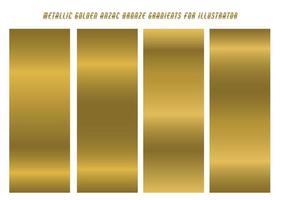 Bright Metallic Golden Gradients Set  vector