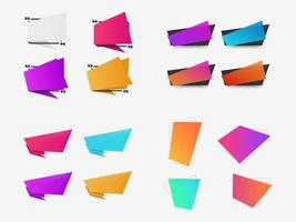 Assorted colorful gradient quote banners vector