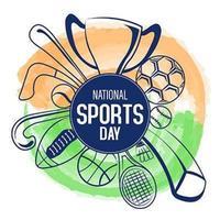 día nacional del deporte, india vector