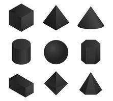 Assorted 3D black geometric shapes vector