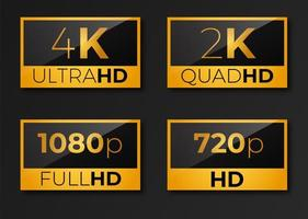 Pack of video dimensions HD icons 4K 2K 1080p 720p