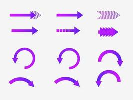 Assorted purple gradient arrows vector